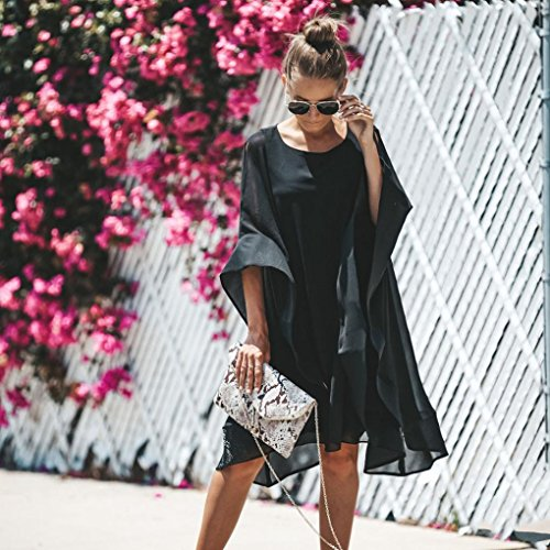 Clearance! Mini Dress,Showking Women's Batwing Sleeve Solid Chiffon Cloak Cape Dress (XL) by Showking_women Dress (Image #4)
