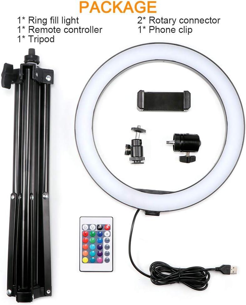 dimmable 4 modes d/éclairage et 16 luminosit/é Selfie Desk Makeup Light avec support de t/él/éphone portable USB Live 10 pouces ext/érieur LED anneau lumineux avec tr/épied Sunsbell 8 pouces int/érieur