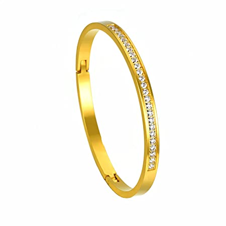 XIUDA CZ Stainless Steel Polished Bangle Bracelet for Women & Men Rose Gold Plated 6skCh5a0g