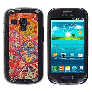 """Pulsar Snap-on Series Teléfono Carcasa Funda Case Caso para Samsung Galaxy S3 MINI ( NOT for regular S3 , Diseño floral Arte Ogee rojo colorido"""""""