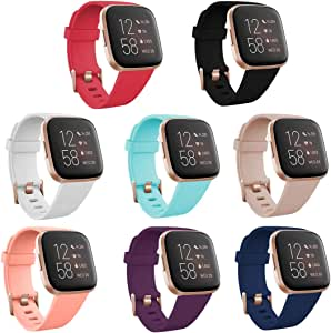 TECKMICO 8PCS Fitbit Versa 2 Bands,Classic Soft Sport Replacement Wristband Compatible with Fitbit Versa/Versa 2/Fitbit Versa Lite for Women Men,Rose Gold Watch Buckle (8-Pack, Small)