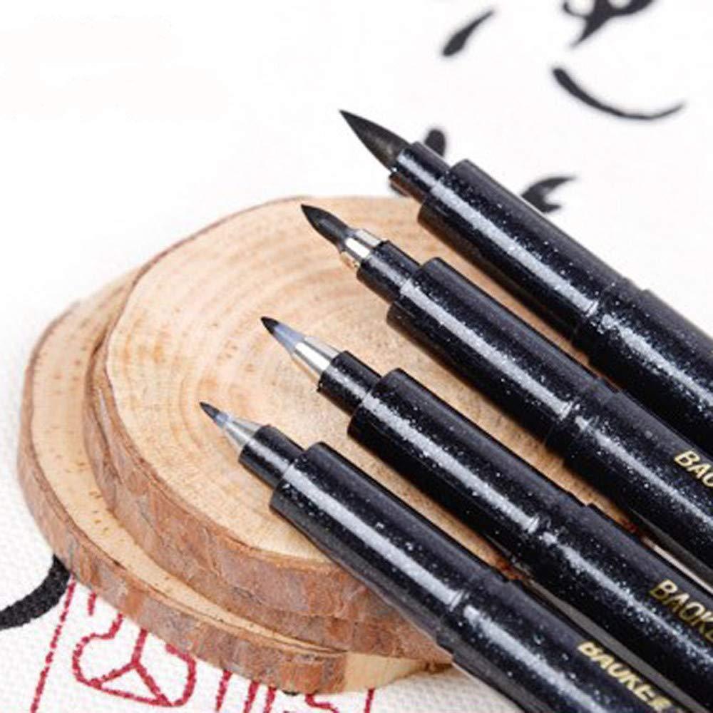 Jeeke 4 Sizes Calligraphy Pen Hand Lettering Pens Brush Markers Art Marker Ink Pen