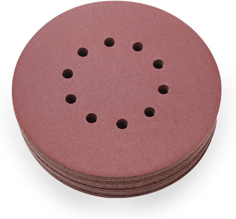 100 dischi abrasivi in velcro per levigatrice orbitale /Ø 225 mm con 8 fori grana Lepik P180
