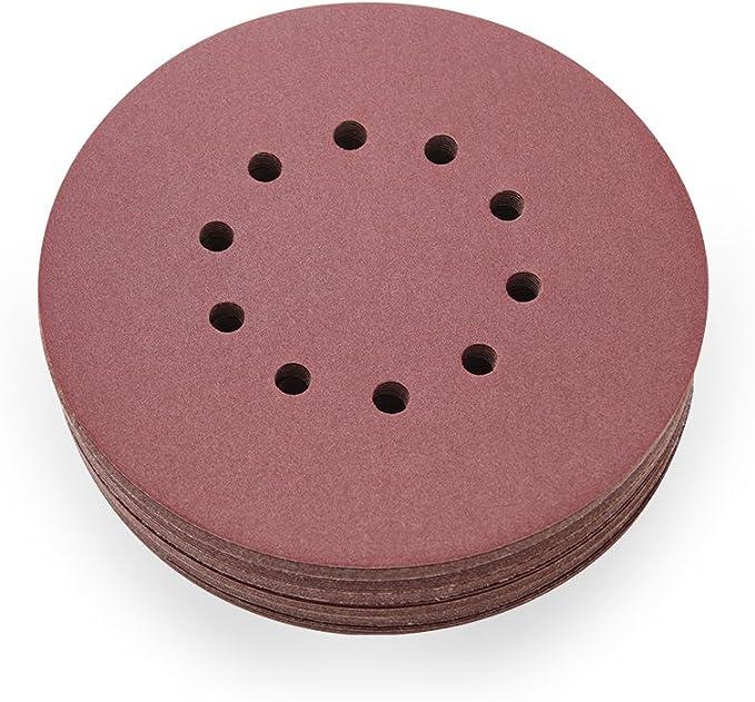 Sans trou en rouge Grain P120 pour un pon/çage optimal et polyvalent Woltersberger/® Lot de 50 disques abrasifs excentriques /Ø 180 mm Papier abrasif auto-agrippant