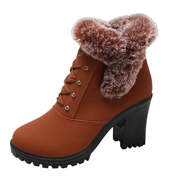 Botines Militares cuña con Cordones para Mujer Invierno 2018 PAOLIAN Botas de Nieve Impermeable caño bajo con Tacon Altas Ancho Zapatos Señora Botas Piel ...