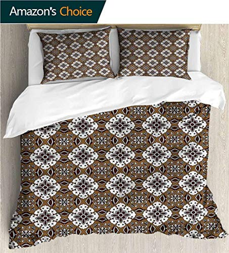 (Bedspread Set Queen Size,Box Stitched,Soft,Breathable,Hypoallergenic,Fade Resistant Print,Decorative Quilted 2 Piece Coverlet Set With 2 Pillow Shams-Chocolate Batik Floral Pattern (87
