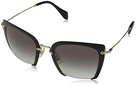 3187185f5830 Image Unavailable. Image not available for. Colour  MIU MIU Metal Half Rim  Sunglasses in Black Pale Gold ...