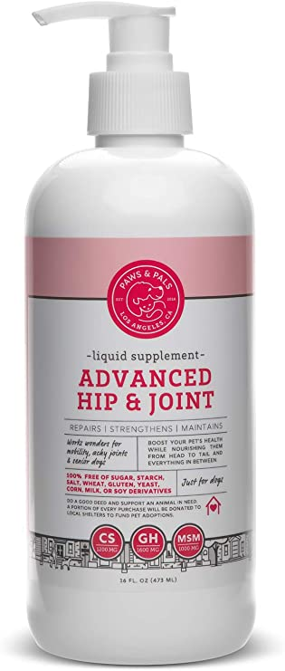 Paws & Pals Hip and Joint Supplement for Dogs, Hip & Joint for Adult/Senior Dog - Arthritis Aid - Made in USA with Chondroitin - Glucosamine & MSM - 16 fl. oz