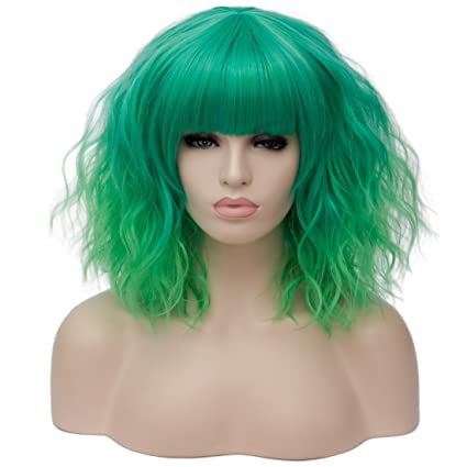 labeauté u-power68 mujeres Cosplay Peluca Disfraz de pelo Ombre onda corto rizado pelucas completa
