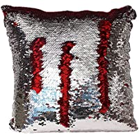 Mermaid Sequin Reversible Pillow (Silver/Red)