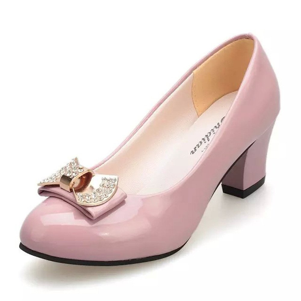 TYAW-Frauen Schuhe Heels Leder Farbe Flachen Maul Runder Kopf Metall Dekoration,Pink,36