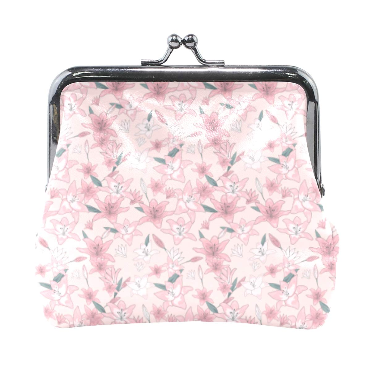 Exquisite Buckle Coin Purses Blossom Floral Lily Flowers Pattern Mini Wallet Key Card Holder Purse for Women
