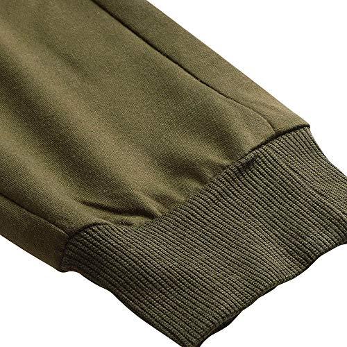 ❤️Ywoow❤️, Men's Autumn Patchwork Zipper Sweatshirt Top Pants Sets Sports Suit Tracksuit Army Green ()