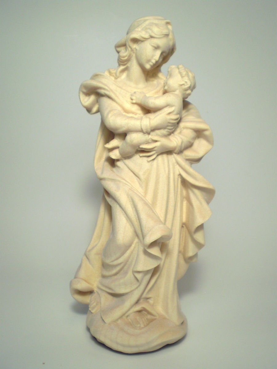 マリア像のトップブランド 創業100年《レーピ》木彫り マリア像 ザルツブルク 白木NR 高さ15cm【イタリア】 B01550XQ14