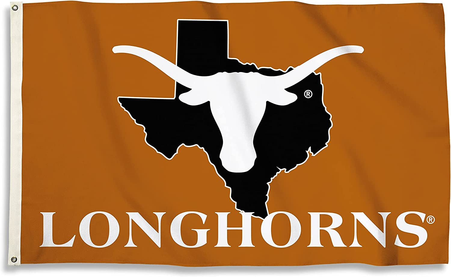 BSI PRODUCTS, INC. - Texas Longhorns 3'x5' Flag with Heavy-Duty Brass Grommets - UT Football, Basketball & Baseball Pride - High Durability - Designed for Indoor or Outdoor Use - Great Gift Idea