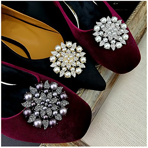 Casualfashion 2Pcs Stylish Removable Pearl Flower Shoe Clips Crystal Shoe Buckles for Wedding Party Prom (Silver ()