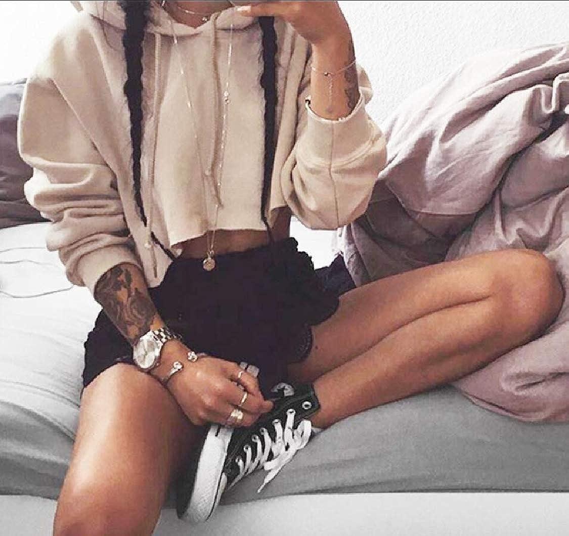 Yayu Womens Long Sleeve Sweatshirt Crop Top Hoodies Pullover Jumper Top