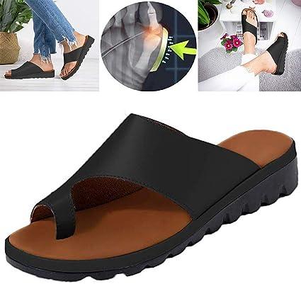 Sandalias de Verano de Las señoras,Sandalias correctivas de Piel sintética Suave Que reducen el