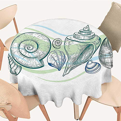 Dragonhome Simple Modern Round Table Cloth Pastel Color Graphics of Seashells with Sketchy Features and Other Sea Elements Theme for Daily use, Wedding, Restaurant, 35 INCH Round ()