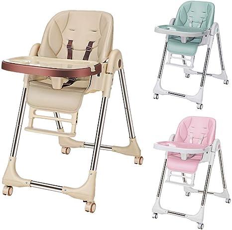 Chaise Haute Enfant Plier, Réglable pour Hauteur & Dossier & Tablette de Repas & Repose Pieds, Chaise Haute pour Bébé avec 4 Roues Amovibles et