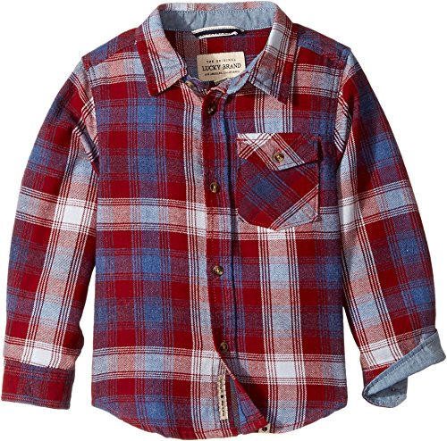 Lucky Brand Toddler Boys' Long Sleeve Twill Plaid Shirt with Snow Wash, Plaid Snow Wash Perma Red, - Shirt Red Plaid Flannel Boys