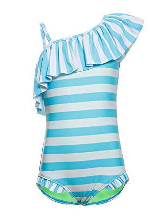 b12d9a02a67 LEINASEN Kids Ruffles One Shoulder One Piece Bathing Suit for Girls Blue