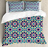 Arabian Decor Duvet Cover Set by Ambesonne, Retro Illustration of Nostalgic Arabesque Antique Geometric Star Baroque Motifs Art, 3 Piece Bedding Set with Pillow Shams, Queen / Full, Red Blue Yellow