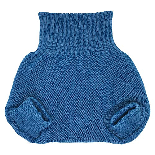 Organic Merino Wool Diaper Cover - Overnight Knit Diaper Cover for Fitted Cloth Diaper (EU62-68 | 3-6 months, Blue)