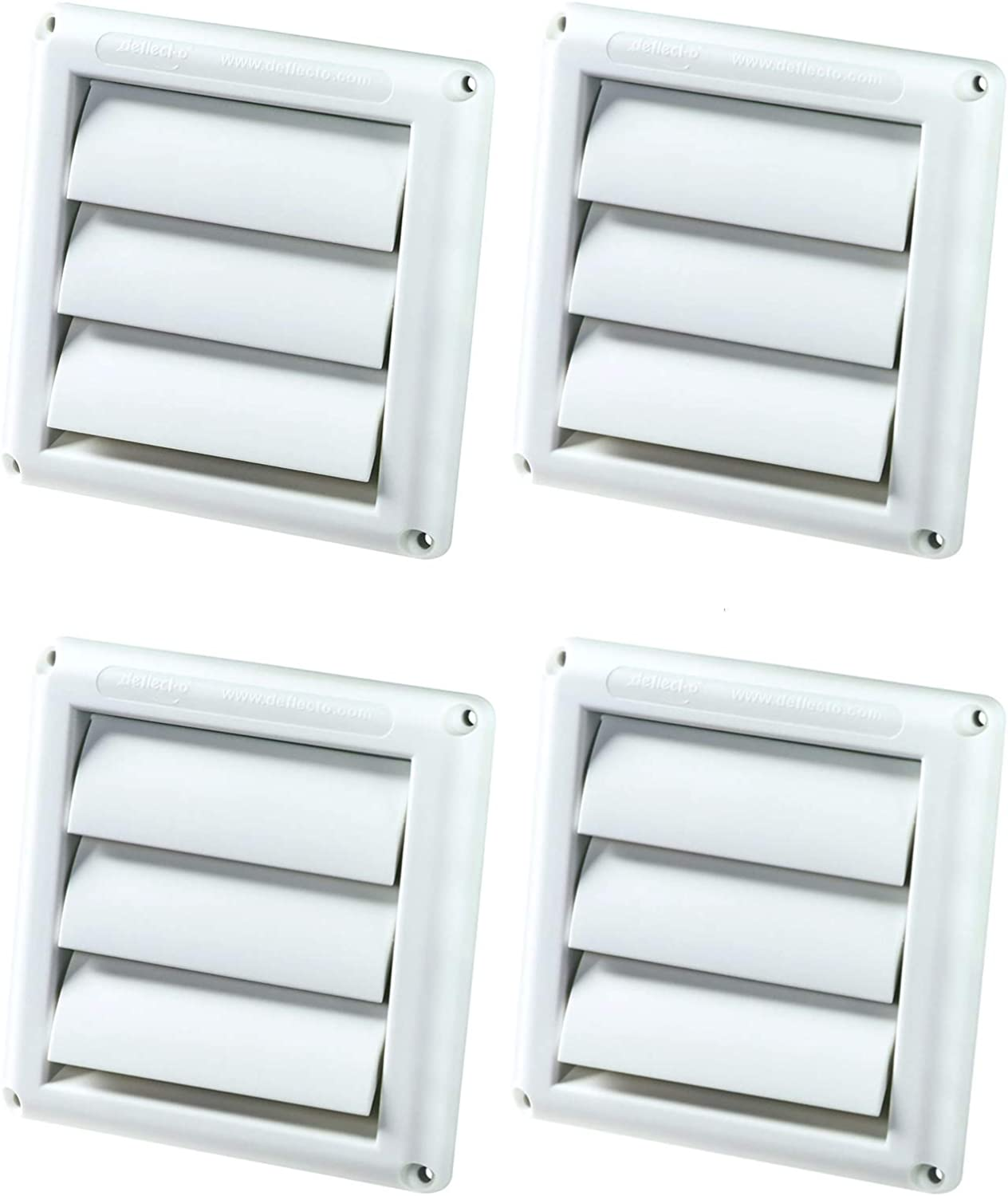 (4 Pack) - Deflecto Supurr-Vent Louvered Outdoor Dryer Vent Cover, 4 Inches Hood, White (Hs4W/18)