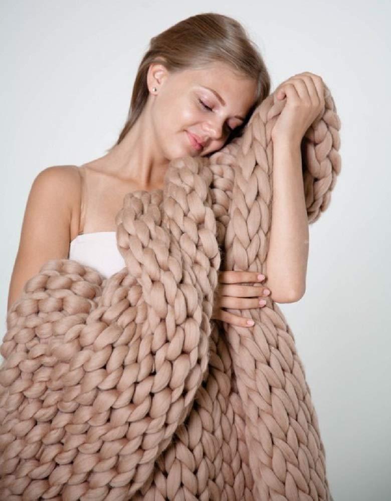 Chunky Knit Blanket Merino Wool Yarn Handmade Giant Throw For Bedroom Chair Sofa Home Decor (Dark Gray, 47'x71') 47x71) Keyuan