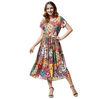 d5f2454a5b6 Women Boho Aline Midi Dress Summer Casual Crew Neck Short Sleeve Flowy  Pleated Swing Tie Strap Floral Print Beach Dresses at Amazon Women's  Clothing store: