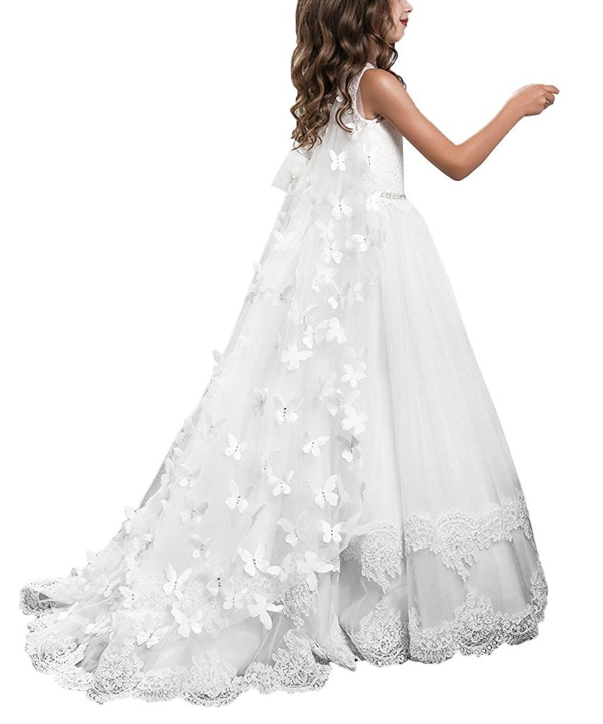 Banfvting Long Cape Detachable Train Girls Prom Dress Party Gown With Handmade Flowers