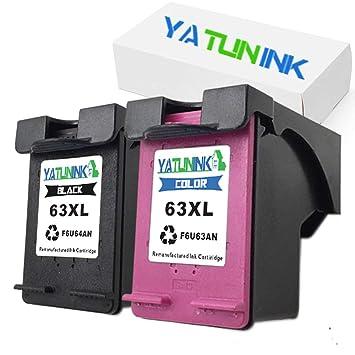 yatunink 2pk Reemplazo para HP 63 X L Negro f6u64 a Cartucho Color ...