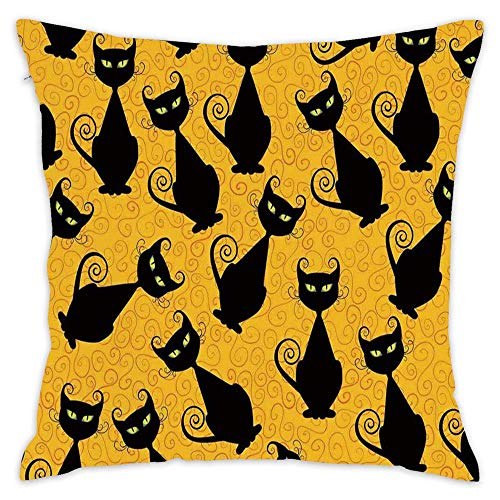 Hsdfnmnsv Vintage Decor Black Cat Pattern on Orange Background Halloween Witch Pet Graphic Square Throw Pillow Case Cotton Decorative Cover for Sofa Bed Car 18 x 18 Inch -