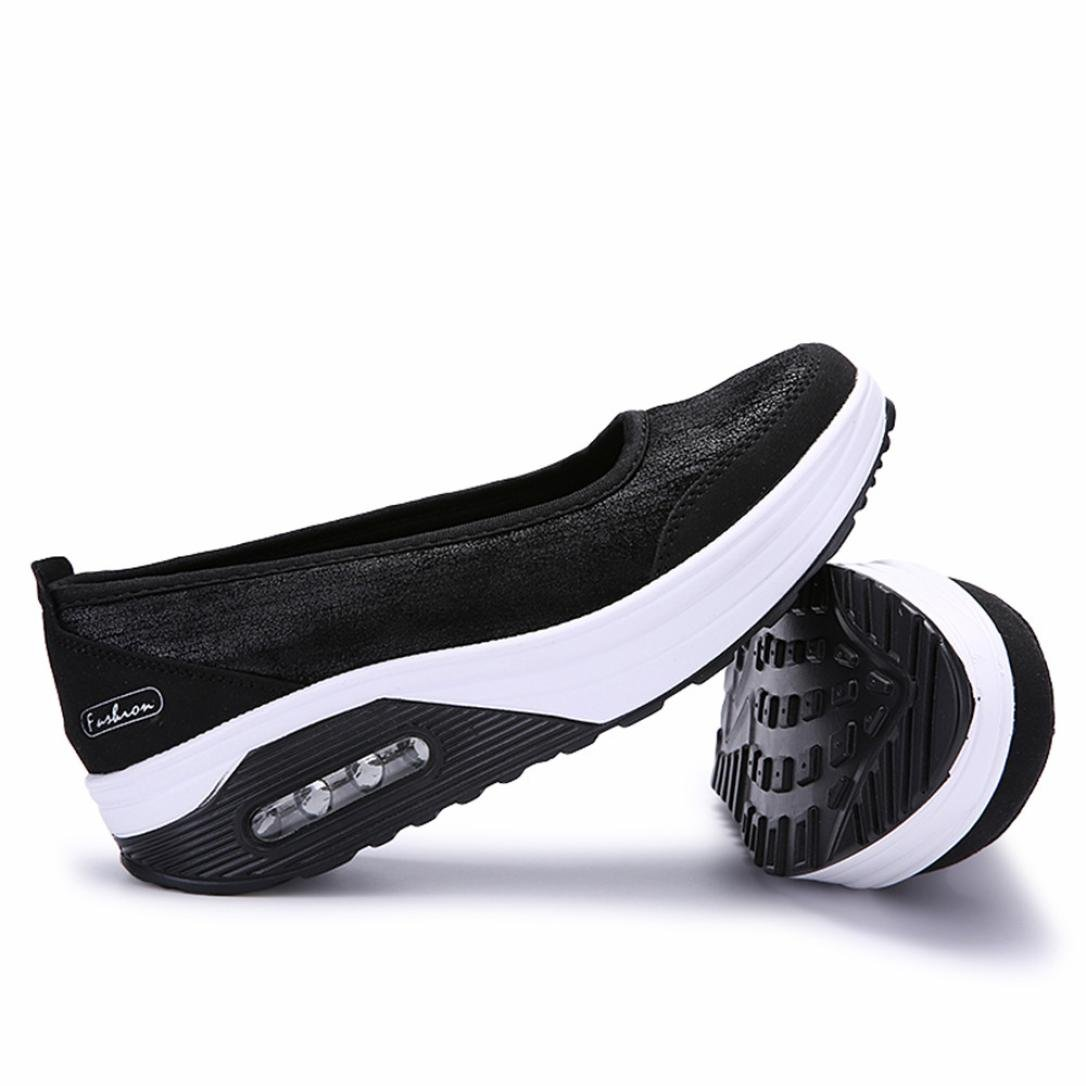 Big Promotion! Women Casual Shoes, Neartime 2018 Fashion Air Cushion Platform Shoes Shallow Round Toe Sport Sneakers (US:8, Black) by Neartime Sandals (Image #7)