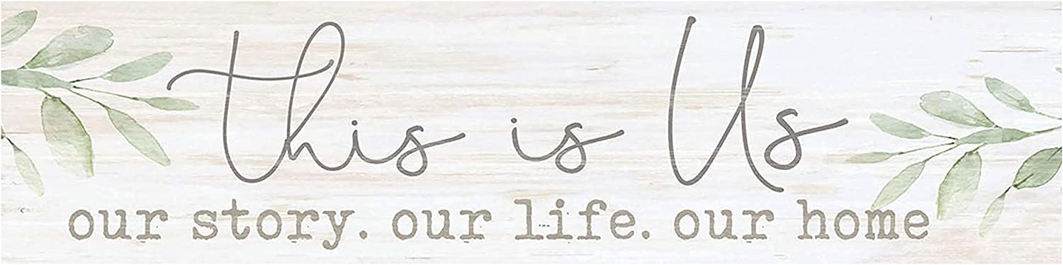 P. Graham Dunn This is Us Our Life Home Whitewash 6 x 1.5 Mini Pine Wood Tabletop Sign Plaque