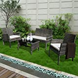 PATIOROMA 4PC Rattan Patio Furniture Set Garden Lawn Sofa Cushioned Seat (Mix Gray Wicker, White Cushions)