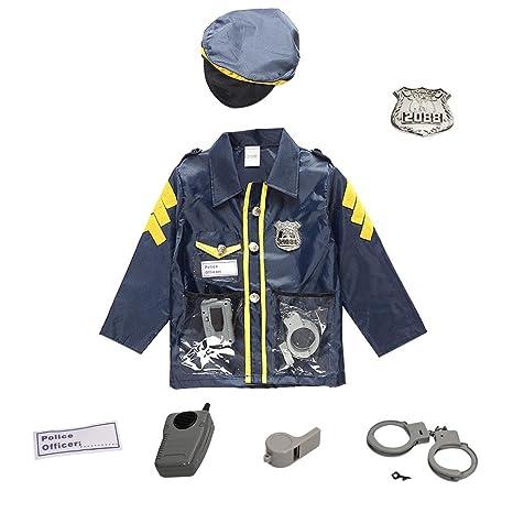 Chlidrens Policeman Disfraz de cosplay Disfraz de policía para niños Disfraces Juego de ropa Juego de ropa - Ropa Sombrero Esposas Walkie-talkie Para ...