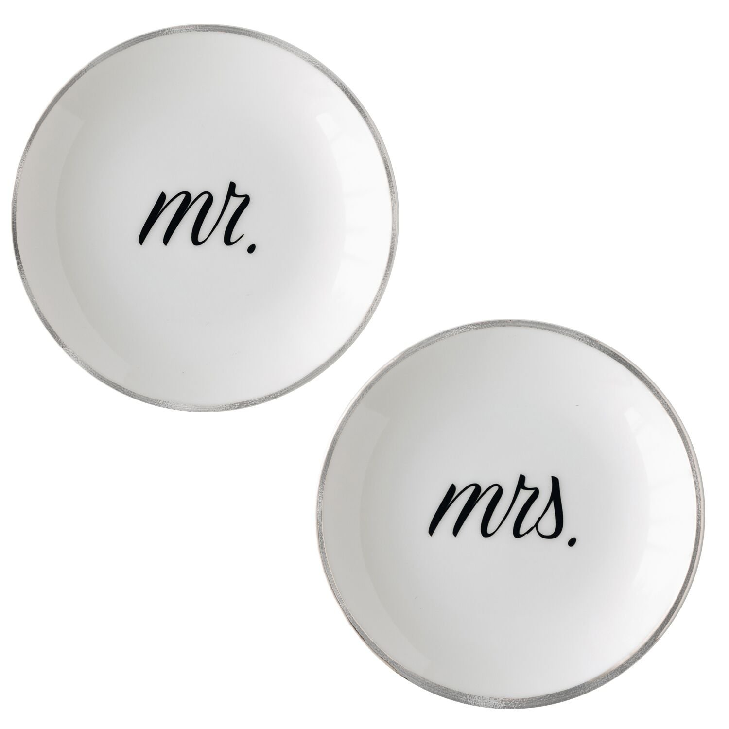 McLaughlin Glazeware Couples Ring Dishes - Platinum (Mr. & Mrs.)