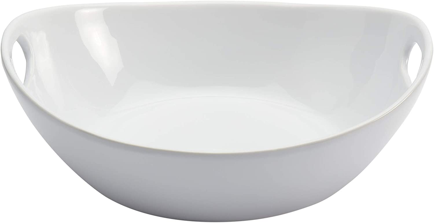 Tabletops Gallery White Durable Stoneware Serving Dishes Platter and Sets with Handles, Large Deep Oval Serving Platter