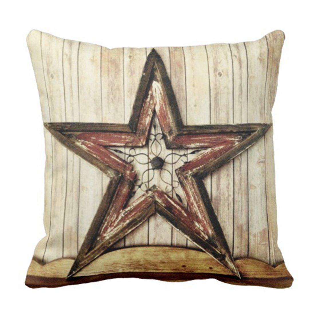 emvencyスロー枕カバー素朴なCountry Western Starバーン木製装飾枕ケースホーム装飾スクエアクッション枕 20 x 20 inch ホワイト 20 x 20 inch  B0776RYJ9B