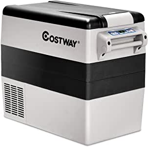 COSTWAY Car Refrigerator, 55-Quart Portable Compressor Freezer, -4°F to 50°F, Dual-Zone Electric Car Cooler with 3 Levels, LCD Display, Shockproof Design, RV Travel Fridge for Home, Camping (Gray)