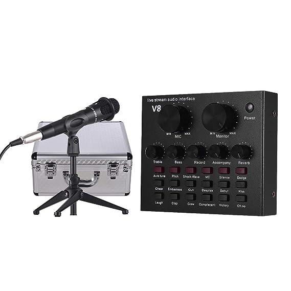 Muslady Tarjeta de Sonido Externa Interfaz de Audio USB + Micrófono de Condensador Alámbrico + Micrófono Soporte para Trípode de Escritorio + Monitor ...