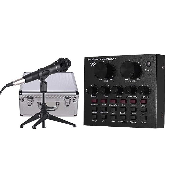 Muslady Tarjeta de Sonido Externa Interfaz de Audio USB + ...