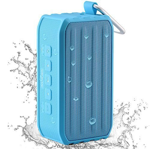 Arespark Outdoor Bluetooth 4.0 Speaker with 12 Hours Playtime, 7W Dual Stereo Bass Radiator, IPX4 Waterproof, NFC, SD/TF card Play, Blue