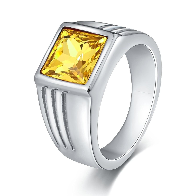 Daesar Anello di Fidanzamento Uomo Anello in Acciaio Anello Retrò Anello in Oro/Argento Anello Taglia 15-27 DAEHP149JZ160