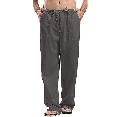 .com : COOFANDY Mens Linen Loose Casual Lightweight Elastic Waist Yoga Beach Pants : Clothing