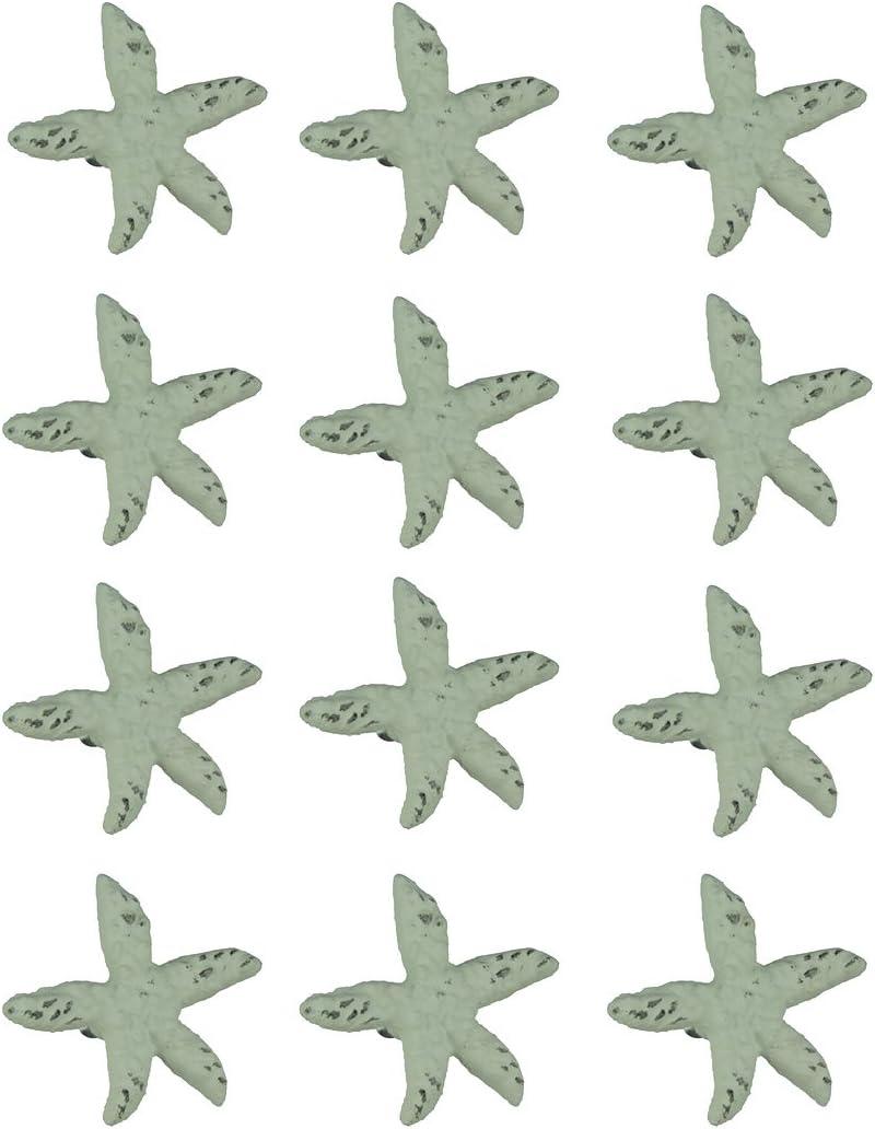 Chesapeake Bay Distressed White Cast Iron Starfish Drawer Pull Set of 12