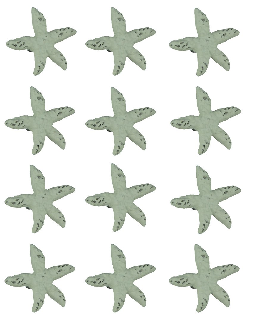 Chesapeake Bay Cast Iron Drawer Pulls Distressed White Cast Iron Starfish Drawer Pull Set of 12 2.75 X 2.5 X 1.75 Inches White J.D. Yeatts Imports