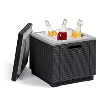 Allibert Cooler Side Table With Cooling Ice Cube Rattan Look